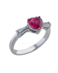 Sterling Silver Ruby Heart Crystal Ring