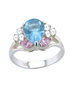 Sterling Silver Pear Cut Aqua Blue And Pink Simulated Diamond Ring