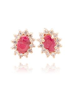 Ah! Jewellery Ladies Genuine Precious 1.45ct RUBY Stud Earrings. Brilliant Rounds Surrounding. Gold Filled UK Guarantee 3µ. Stamped GL.