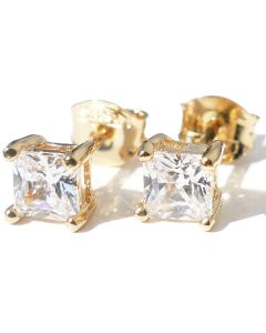 4mm Gold Filled Square Clear Stud Earrings