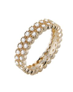 18K Gold Filled Micro Pave Fringed Ring With Simulated Diamonds