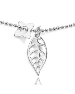 Sterling Silver Leaf And Four Petal Flower Pendent Necklace
