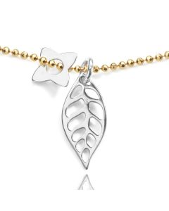 24K Gold Over Sterling Silver Ball Chain With Sterling Silver Leaf And Four Petal Flower Necklace