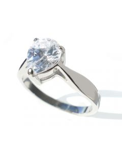 Ah! Jewellery® Stainless Steel Pear Cut Simulated Diamond Ring, Stamped 316.