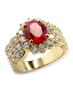 Ah! Jewellery 24K Gold Electroplated Blood Red Rub Ring.