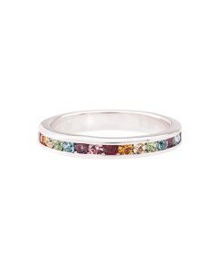 Sterling Silver Rainbow Themed Cubic Zirconia Full Eternity Band
