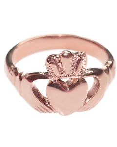 Rose Gold Over Stainless Steel Celtic Claddagh Ring