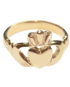 Gold Over Stainless Steel Celtic Claddagh Ring