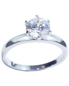 Ah! Jewellery® 1.85ct Highest Grade Rhodium Bonded Simulated Diamond Solitaire Ring