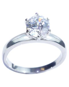 Stainless Steel 1.85ct Highest Grade Simulated Diamond Solitaire Ring