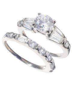 Stainless Steel Centre Simulated Diamonds Ring Band Set