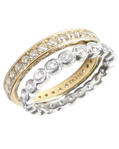Two Tone Stainless Steel & Gold Eternity Set Of Simulated Diamond Rings