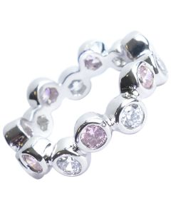 Rhodium Electroplated Light Rose & Clear Simulated Diamonds Eternity Ring