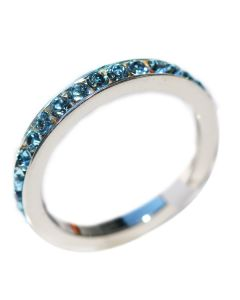 Sterling Silver Ring Eternity Band Handset with Finest Aqua Blue Top Grade Crystals