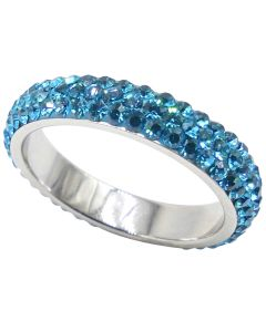 Blue Sparkly Stainless Steel Full Eternity Band Ring