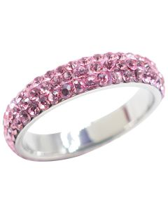 Pink Sparkly Stainless Steel Full Eternity Band Ring