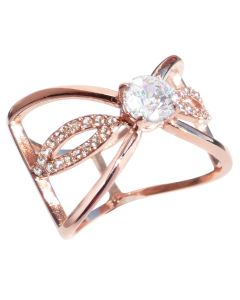 Butterfly Inspired Genuine Rose Gold Filled Over Stainless Steel Simulated Diamond Centre Stone