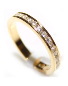 Ladies 18K Gold Over Sterling Silver Channel Set Ring Lab Diamond