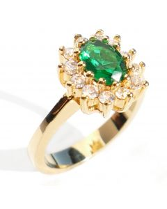 Ah! Jewellery® Simulated Emerald Center Stone Gold Filled Ring, Stamped GL