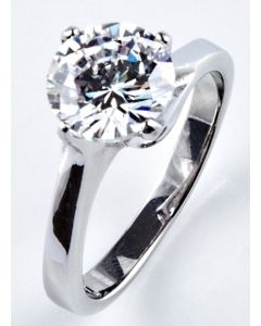 Ah! Jewellery® Stainless Steel Simulated Diamond Solitaire Ring.