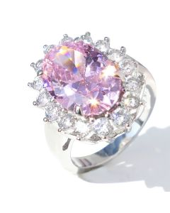 Stainless Steel Light Rose 14.1mm Centre Stone Surrounded With Simulated Diamonds