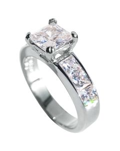 Ah! Jewellery® Stainless Steel Rhodium Bonded Princess Cut Simulated Diamond Ring