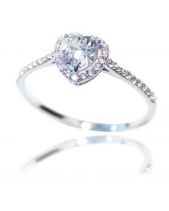 Ah! Jewellery Women's Dainty Sparkling 5mm Heart Shaped Simulated Diamond Ring. Sterling Silver, Stamped 925
