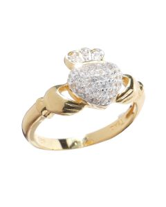 Gold Over Sterling Silver Traditional Claddagh Pave Setting Ring