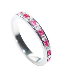 Sterling Silver Rose And Clear AAA Cubic Zirconia Band