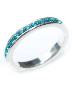 Sterling Silver Blue Cubic Zirconia Full Eternity Band Ring