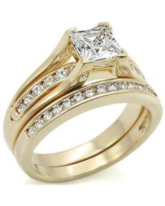Ah! Jewellery® Gold Filled Non Tarnish Ring Band Set with 6mm Flawless Swarovski