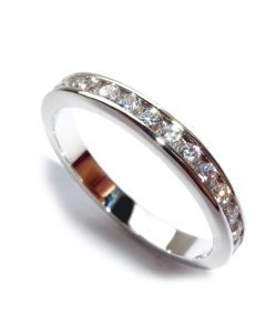 Sterling Silver Channel Set Ring With Lab Created Diamonds