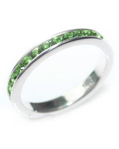 Sterling Silver Peridot Green Crystals Eternity Band