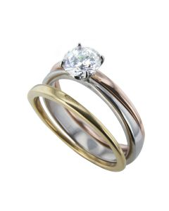 3pcs Tri Colour 1.2ct Solitaire Simulated Diamond Ring Set Stainless Steel Stamped 316 Gold and Rose Gold Bands Over Steel