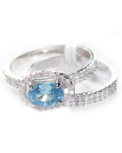 Finest 7.5mm Sea Blue Oval AAA Highest Grade CZ Wedding Ring and Band Set
