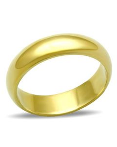 Gold Over Stainless Steel 4mm Plain Wedding Ring Band