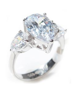 Sterling Silver Lab Created Diamond Pear Cut Ring Centre Stone Ring
