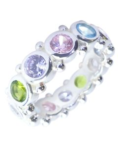 Sterling Silver With12 Multi-Coloured Simulated Diamonds Rainbow Themed Eternity Ring