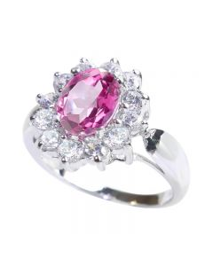 Stunning Genuine Precious 1.45ct Pink Topaz Sterling Silver Ring