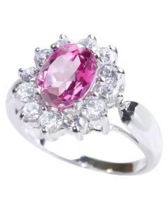 Sterling Silver Genuine Pink Topaz Surrounded By Lab Created Diamonds