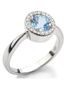 Sterling Silver Genuine 1.45ct Sky Blue Topaz Halo Ring Surrounded By Small Rounds