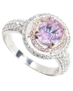 Sterling Silver 2.45ct Oval Pink Rose Ring