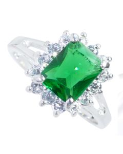 Sterling Silver Green Lab Created Diamond Ring