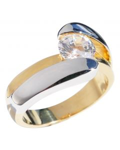 Ah! Jewellery® Exquisite Two Tone Ring Gold Filled & Rhodium Electroplated Ring.