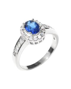 Sterling Silver Sapphire Created Diamond Ring