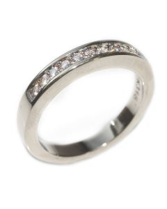 Rhodium Electroplated Lab Created Half Eternity Band Ring