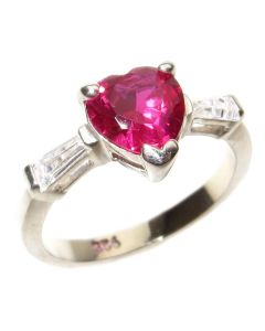 Stainless Steel Ruby Heart Crystal Ring