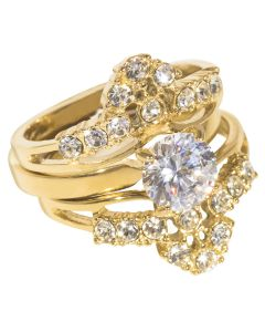 24K Gold Over Sterling Silver Three PCS Set Rings With Simulated Diamonds