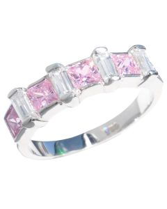 Sterling Silver Light Rose & Baguette Clear Simulated Diamond Princess Cut Ring