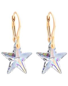 18K Gold Over Sterling Silver Aurore Boreale Star Crystal Earrings